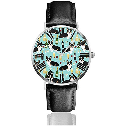 Armbanduhr Tricolored Corgi Wine Fabric Hunde und Bier Fabric Classic Casual Quarzuhr Business-Uhren