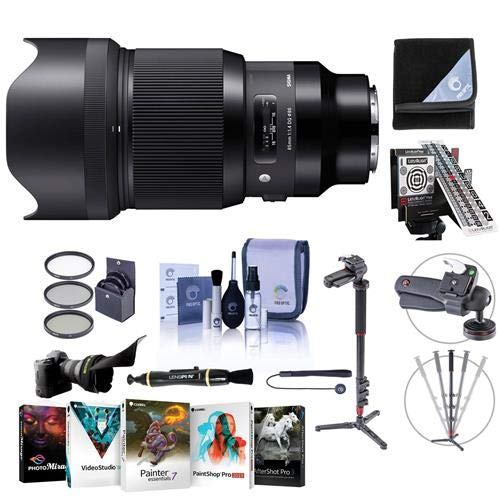 Sigma 85mm f/1.4 DG HSM Art Lens for Leica L-Mount Cameras Black - Bundle with 86mm Filter Kit, LensAlign MkII Focus Calibration System, 4-Section Aluminum Handheld Monopod, Software Pack, and More