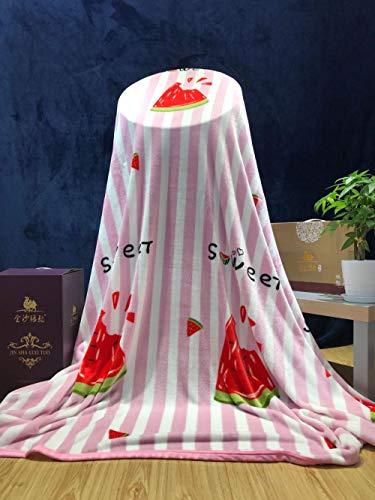 PengMu zachte sofadeken/sprei versleutelde watermeloen met roze strepen voor het afdrukken en kleuren van ijssamt, onderhoudsvriendelijk, superwarme deken