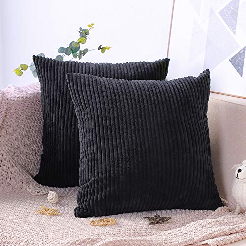 Artscope Soft Corduroy Cushion Covers, 2 Pack Solid Color Corn Stripe Throw Pillow Covers Pillowcases Home Decorations for Sofa Bed Car Seat Chair Decor 45x45cm/18x18 Inch (Black)