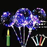 LED Light Up Bobo Balloons 6 Packs, Flashing Handles,20 Inches Transparent Bubble Balloons,70 cm Sticks, Event Birthday Party Decoration