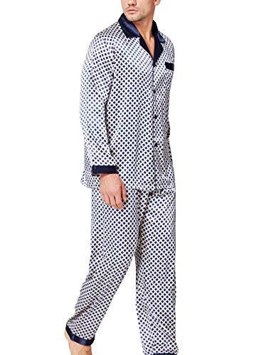 Herren Seide Schlafanzug Pyjama Homewear Blue Dot Medium