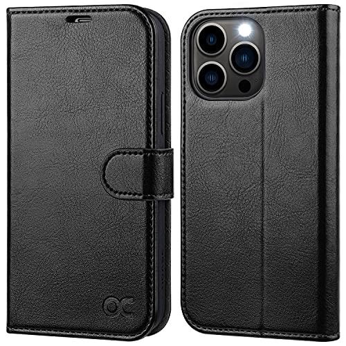 OCASE iPhone 13 Pro Hülle Handyhülle [Premium PU Leder] [Kartenfach] [Magnetverschluss] RFID Schutzhülle Klapphülle Handytasche Lederhülle Flip Hülle Cover Kompatibel für iPhone 13 Pro Schwarz