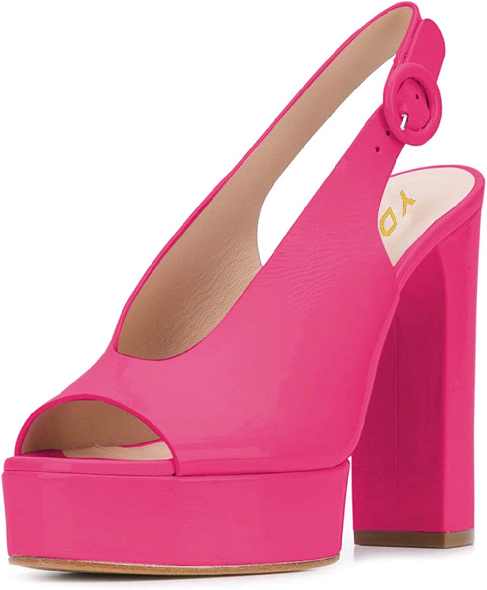 YDN Women Chic Peep Toe Chunky High Heel Sandals Slip on Platform Pumps Slingback Slide Shoes