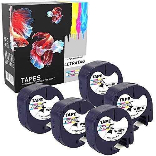 Prestige Cartridge 5 Kassetten Ersatz für Dymo 91201 S0721610 S0721660 schwarz auf weiß 12mm x 4m Kunststoff Schriftband kompatibel für DYMO LetraTag LT-100H LT-100T LT-110T QX50 XR XM 2000 Plus