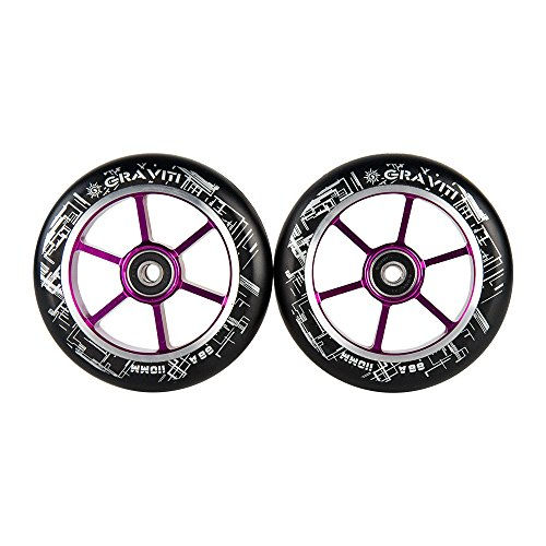 GRAVITI One Pair 110mm Pro Stunt Scooter Wheels with ABEC-9 Bearings CNC Metal Core (2pcs) (Black pu Purple core)