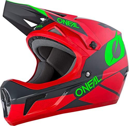 O'NEAL   Mountainbike-Helm Fullface   MTB DH Downhill FR Freeride   ABS-Schale, Magnetverschluss, übertrifft Sicherheitsnorm EN1078   SONUS Helmet DEFT   Erwachsene   Grau Rot Grün   Größe M