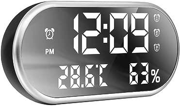 Bizzerinc Digital Alarm Clock, Portable Mirror Large LED Display,Dual USB Port Charging, Easy Set Three Alarms,Temperature and Humidity Clock for Bedrooms
