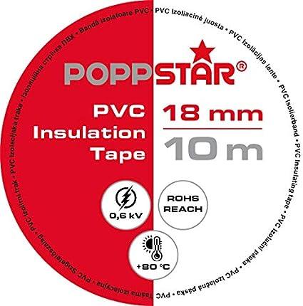 para aislamiento reparaci/ón de conductores el/éctricos 18mm ancho cinta de sellado de PVC - cinta adhesiva Poppstar rojo 10x 10m Cinta aislante universal
