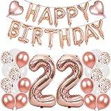 Conruich Globos de látex gigantes con el número 22 para decoración de cumpleaños de color oro rosa, globos de confeti con forma de corazón, para hombres, mujeres y adultos