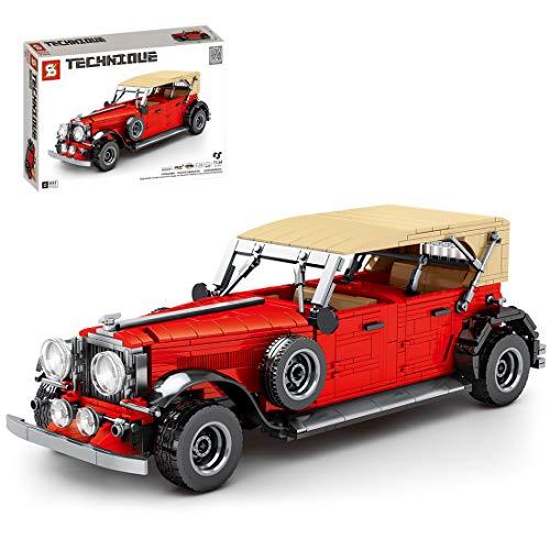 GILE Técnica para coche antiguo, 1134 piezas, técnica retro, juego de construcción, técnica Pull Back Auto compatible con la técnica Lego