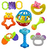 WISHKEY Colourful Plastic Non Toxic Set of 8 Teether and Rattle for New