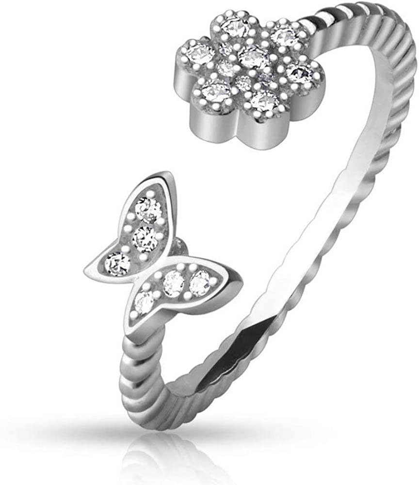 Covet Jewelry CZ Paved Flower and Butterfly Adjustable Toe Ring