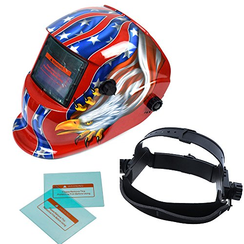 TOSENBA Welding Helmet Auto Darkening Hood Solar Power with Adjustable Shade Range 4/9-13 for Mig Tig Arc Weld Grinding Welder Mask (red eagle)