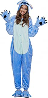 ReachMe Stitch Onesie Pajamas with Matching Gloves and Slippers Animal Pjs Halloween Costumes Party Wear