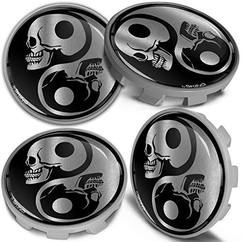 Biomar Labs 4 x 68mm Tapas de Rueda de Centro Tapacubos Centrales Llantas Aluminio Compatible con BMW Part. No. 36136783536 Negro Plata Cráneo Yin Yang para Coche CBS 5