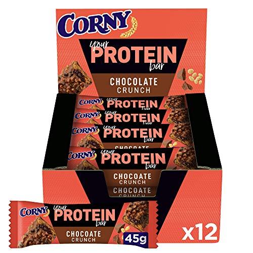 Corny - Barritas de Proteínas de Chocolate y Frutos Secos, Sin Azúcar Añadido ni Aceite de Palma - 12 x 45 gr