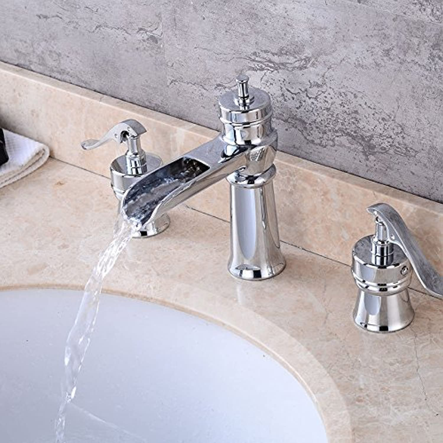 Hlluya Professional Sink Mixer Tap Kitchen Faucet Three Hole basin faucet waterfall wash hand basins, hot and cold water faucets antique