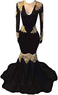 2K19 Mermaid Evening Dress Deep Gold Lace Prom Dress Sweep Train Party Gowns