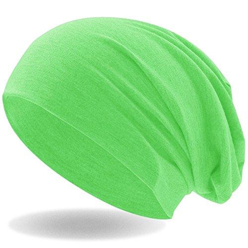 Hatstar Klassische Jersey Slouch Long Beanie Mütze, leicht und weich, Reversible Bicolor für Damen und Herren (Neon Grün)