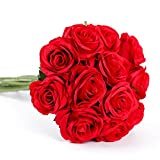 Floralsecret 12 Piezas Rosas Artificiales Ramo Flores Imidacial de Seda Decoración de Boda Casa(Roja)