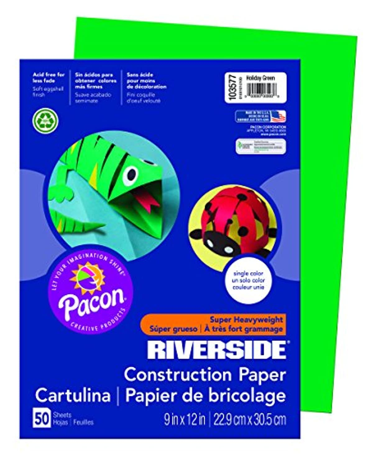 Riverside 3D Construction Paper, Holiday Green, 9