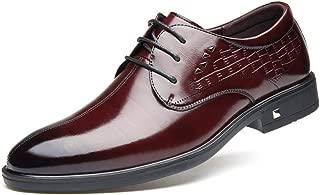 HONGkeke Men's Fashion Business Oxfords Casual Comfortable Classic Pure Color Lace-up Formal Dress Shoes Durable (Color : Wine, Size : 7.5 D(M) US)