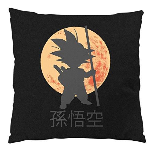 style3 Jeune Goku Coussin avec Remplissage, Housse en Coton, 28x28 cm, Couleur:Schwarz