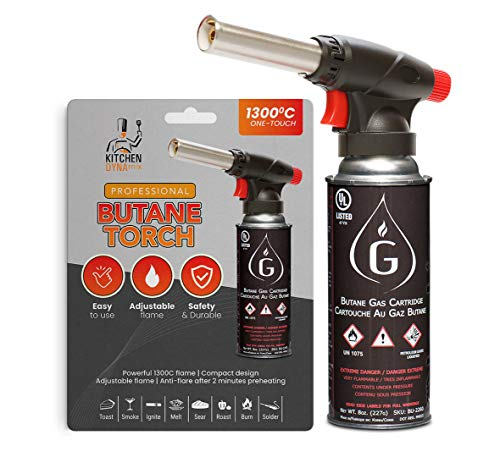 Kitchen Torch Attachment WITHOUT BUTANE for Sous vide cooking by Kitchen Dynamix. POWERFUL flame, Culinary grade certified Torch. Safe and easy to use, and INCLUDES 1 year Warranty