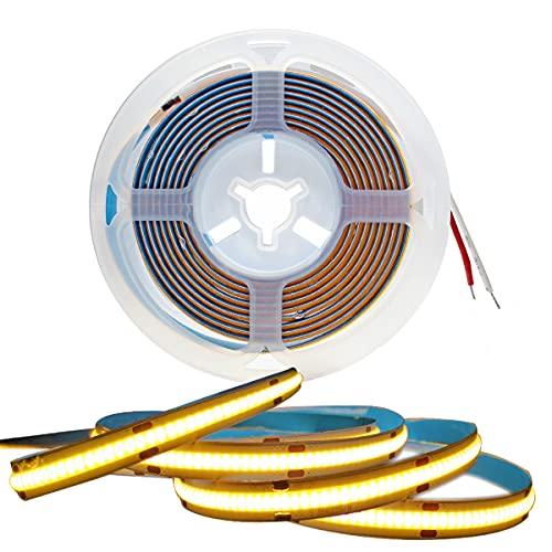 Tesfish LED Streifen Licht, COB LED Band DC 12V 5M 320 LEDs/M Insgesamt 1600 LEDs Warmweiß 3000K Neon Licht Flexibel Super Hell LED Lichtleisten Leiste für Party, Theke, Regal, Wohnkultur
