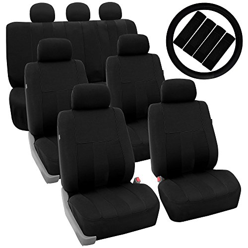 FH Group FH-FB036217 + FH2033 Three Row Combo Set: Striking Striped Seat Covers Solid Black Color- Fit Most Car, Truck, SUV, or Van