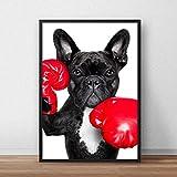 BLLXMX Pinturas en Lienzo HD Bulldog y Guantes de Boxeo Cartel de Cachorro Grabado Imagen de Pared de Perro para decoración nórdica del hogar 60x90cm sin Marco