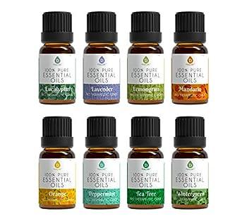 Pursonic 100% Pure Essential Aromatherapy Oils Gift Set-8 Pack 10ML Eucalyptus Lavender Lemongrass Mandarin Orange Peppermint,Tea Tree & Wintergreen