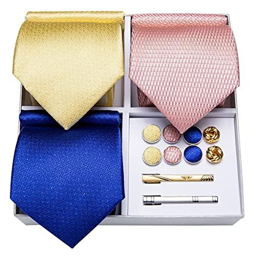 WODMB 3 Paquete Moda Seda Corbata Sólido Amarillo Azul Pink Necktie Conjunto Regalo Para Hombres Boda Corbata Gemelos (Color : Yellow Blue Pink, Size : One size)
