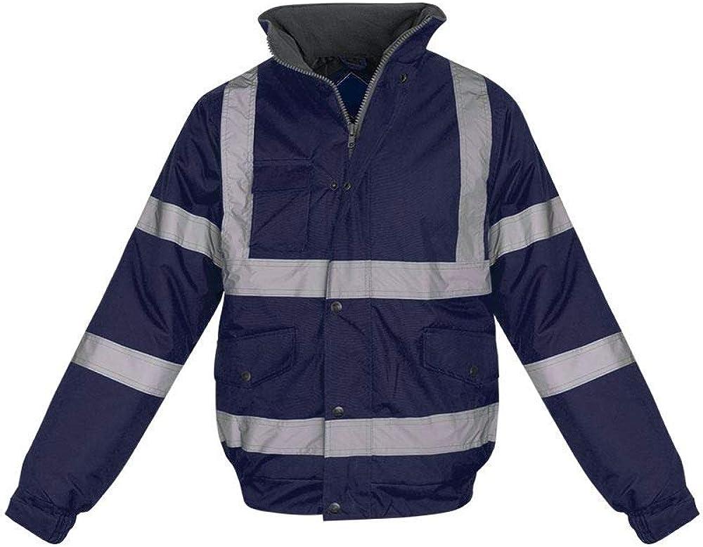 shelikes Hi Vis Viz Visibility Bomber Workwear Security Safety Fluorescent Hooded Padded Waterproof Work Wear Jacket