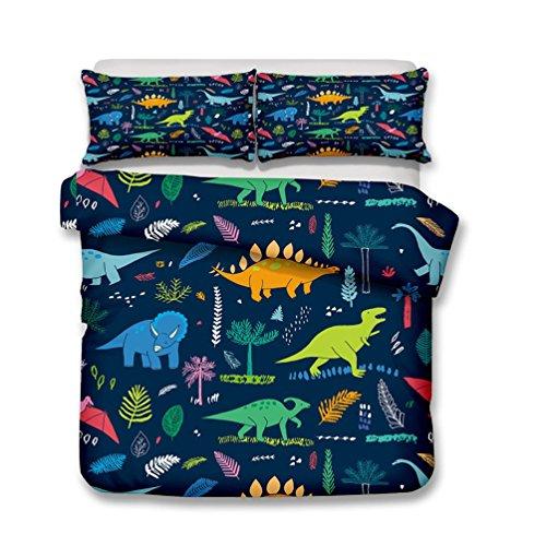 Funda nórdica de dinosaurios de dibujos animados para animales, cama infantil de tres piezas (1 funda de edredón + 2 fundas de almohada) para soltero, doble, niño y niña (B, Super King-220*260cm)