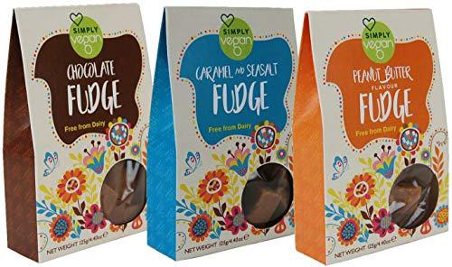 3 Simply Vegan Gift Boxes -Peanut Butter Fudge + Caramel & Seasalt Fudge + Chocolate Fudge (3 x 125g Boxes)