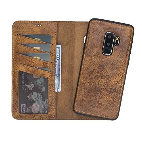 Echt lederen hoes compatibel met de originele Samsung S9 Plus magnetisch afneembare lederen tas (2in1) incl. kaartsleuven designer lederen case (Samsung S9 Plus)