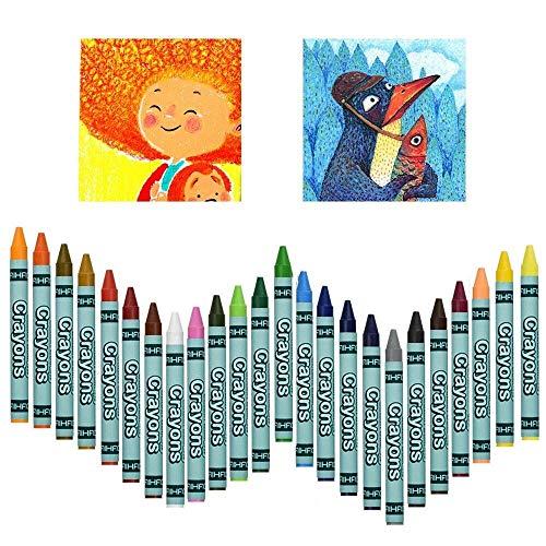 RMENOOR 24 Stück Wachsmalstifte Mehrfarbig Crayons Mehrzweck Wachsmalkreide Wachsmalstifte Buntstifte Gelmalstifte Geschenke Künstlerbedarf für Kinder Mädchen Junge