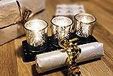 justbelight 3er-Set Glas-Teelichthalter mit Tablett | Zeitlos Schön | Elegante Tischdeko (Silber) - 3