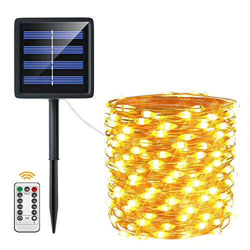 Solar Fairy Lights Outdoor, ACCGUYS 20m 200 LED 8 Mode Solar Fairy Lights with Remote Control Copper Wire Solar String Lights for Outdoor Garden, Wedding, Yard, Indoor, Party, Christmas (Warm White)