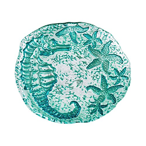 Amici Home, , Amalfi Collection Seahorse Relief Side Plates, Glass Serveware, Made in Turkey, Set of 4, 8.5 Inch Diameter