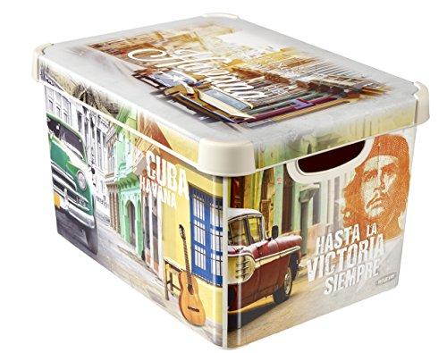 CURVER 225153 Boîte Déco Stockholm L - Décor Cuba, Plastique, Beige, 39,5x29,5x25 cm