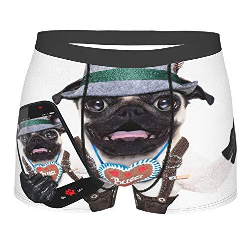 Männerunterwäsche,Dumme verrückte Mops Hund als bayerisch mit Lebkuchen als Kragen Sieg oder Friedensfinger Verkleidet, Boxershorts Atmungsaktive Komfortunterhose Größe XL