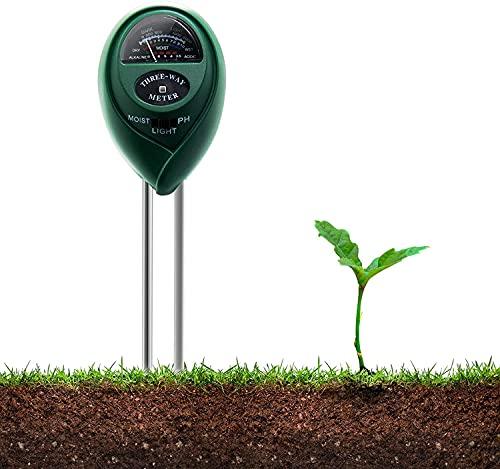 WSDF 3 en 1 Alta Precisión Medidor de Suelo, Medidor de Tierra con Prueba de Humedad, Luz y pH para jardín, Granja, Césped No se Necesitan baterías