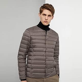 NICOLAS Men's Down Jacket, Men's 2019 and Winter Down Jacket V-Neck Short Paragraph Middle-Aged Men's Shirt (Color : Gray, Size : 195/108A)