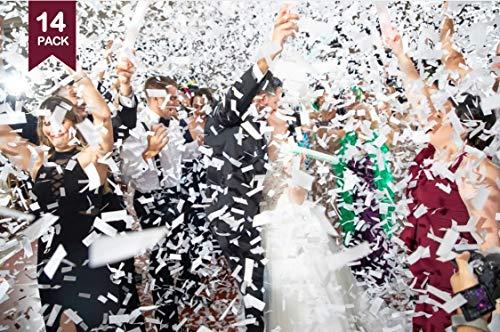 Battife 14Pack White Confetti Wands Biodegradable Tissue Paper Confetti Flick Flutter Sticks for Wedding Celebrations Anniversary Birthday Party White, 14 Inch