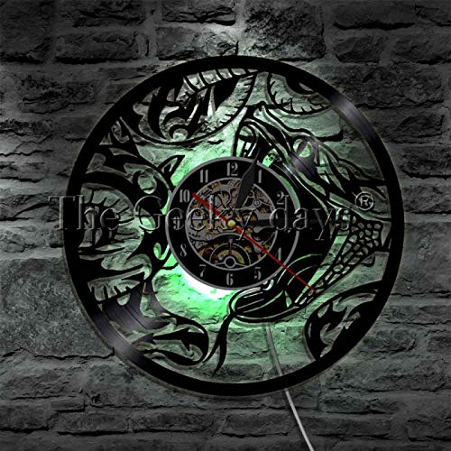 ROMK Reloj de pared Whimsical Reptile Snake Luces LED Arte de la pared Disco de vinilo LED Vida silvestre Muestra de animales Letrero USB Lámpara de pared Lámpara de pared Lámpara de pared con luz LED