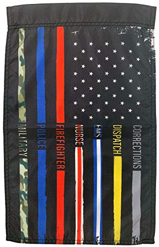 FlagSource Nylon Patriotic First Responder Garden Flag, Made in USA, 18x12 in
