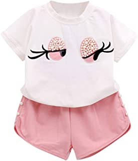 2019 Ropa Niña Verano 2 a 3 4 5 6 7 años | Camiseta Manga Corta con Ojo de Pestañas + Pantalon Cortos | 2PC/Conjunto Ofert...